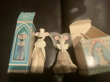 Vintage 1971 Avon Church Mouse Bride And Groom Decanters Wedding Cake Topper