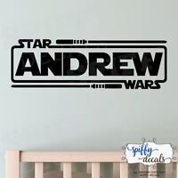 Personalized Star Wars Name With Lightsabers Jedi Knight Vinyl Wall Decal Decor