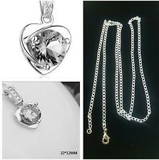 New Trendy Heart Shaped Synthetic Crystal Rhinestone WHITE  Pendant Necklace