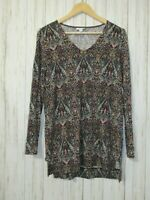 J. Jill Printed V-Neck Tunic Top Size Small