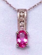 White Gold Pink Sapphire & Diamond Pendant With 18 Inch Chain 10k NEW