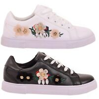 WOMENS LADIES GIRLS TRAINERS EMBROIDERY PRINT EMBELLISHED LACE UP SNEAKERS SHOES