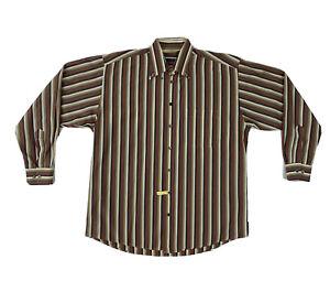 Burberry London Button Down Shirt Mens Large Striped Long Sleeve