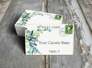 FORGET ME NOT POSTCARD WEDDING PLACE CARDS, TAGS or ESCORT CARDS #97