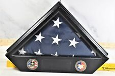 US Army Memorial American Flag with wooden Plaque & Medals