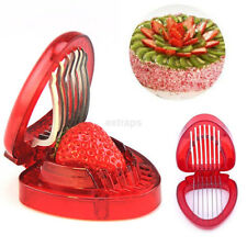 1pc Strawberry Slicer Fruit Tools Salad Cutter Cake Decor Kitchen Gadgets UK