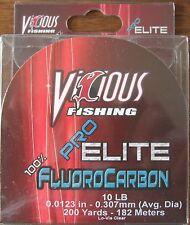 Vicious Pro Elite 100% Fluorocarbon 10 lb 200 yds Fishing Line Low Vis Clear