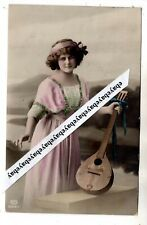 1912 LADY with MUSICAL STRING INSTRUMENT ANTIQUE PHOTO POSTACRD IMPERIAL RUSSIA