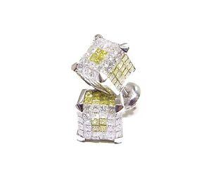 14k White Gold 4ct White & Canary Princess Cut Diamond 3D Square Cube Earrings