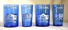 4 Vintage Hazel Atlas Glass TEXAS CENTENNIAL EXPO DALLAS 1936 Alamo Blue Glasses
