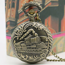 """Christmas Special NEW 1-1/2"""" LOCOMOTIVE POCKET WATCH With 30"""" Chain Gift Ideas"""