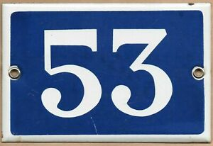 Old blue French house number 53 door gate plate plaque enamel metal sign steel