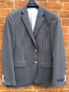 Gurteen Menswear Striped Navy Boating Jacket -all Sizes-BNWT