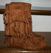 Girl's Rampage Indian Moccasin Fringed Boots Size 2