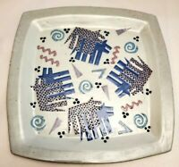 LARGE Cunningham Studio Pottery square Plate Wall Hanging Platter BIG 12inch