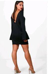 boohoo deep v back dress uk 8 women's black bell sleeve ladies party