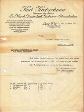 Dokument Briefkopf Kurt Kretzschmar Vertreter Industrie Chemikalien Leipzig (D1