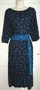 JOE BROWNS Navy Blue Feather Autumnal Pencil Boho Pocket Wrap Dress Size 16 L