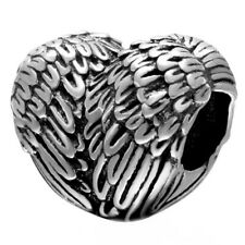 Angelic Feathers Heart Charm Bead in Sterling Silver.