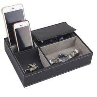 5 Mixed Slots Watch Box Storage Holder Jewelry Organizer Case Black