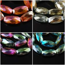 10x Clear Faceted Glass Crystal Long Flat Oval Beads Spacer Findings 32x16mm F