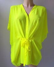 H&M Tie Waist Button Chiffon Kimono Beach Cover-Up Sheer Neon Yellow UK Size 10