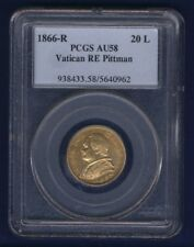 ITALY PAPAL STATES 1866 20 LIRE GOLD COIN, CERTIFIED PCGS ALMOST UNCIRCULATED-58