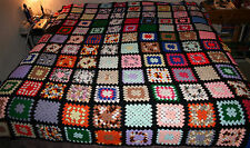 Hand Crocheted Granny Square Afghan King Size MINT MULTI-COLORED