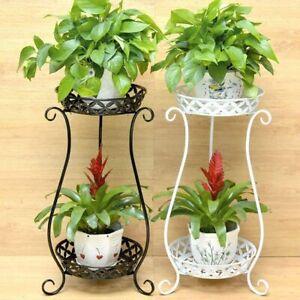 2-tier Metal Plant Stand Flower Pot Holder Display Shelf Garden Patio Outdoor UK
