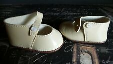 Pair Of Beige Doll Shoes Side Buttons for your Antique Vintage and Artist Dolls