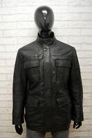 HUGO BOSS Uomo 54 Giubbotto Nero Cappotto Vera Pelle Giacca Jacket Man Leather