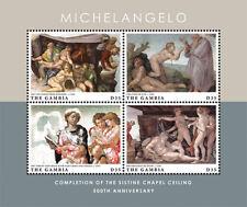 Gambia 2012 - Michelangelo Sistine Chapel 500th Ann. Stamp Sheet of 4 MNH