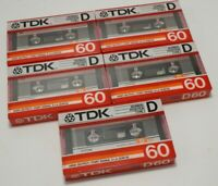 LOT 5 | BRAND NEW TDK D 60 (1986) BLANK CASSETTE TAPE USA Vintage Audiophile