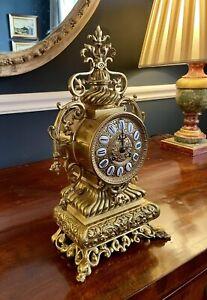 Antique French Large Gilt Metal Mantel Clock - 43cm H