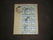 1952 SOUTH AFRICA Stamps SG120a BLOCK OF 10 STAMPS ON PIECE JOHANNESGURG Cancels