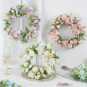Artificial Peony Flower Wreath Hanging Garland, for Door Farmhouse Wall Indoor