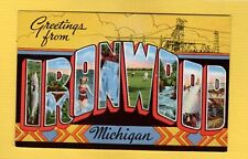 Large Letter Greetings from Ironwood michigan Mi Kropp 20409N