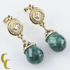 14k Yellow Gold Briolette Emerald & Diamond Earrings TDW = .04 ct TEW = 25.00 ct