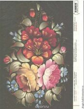 Rice paper for decoupage Zhostovo painting, russian pattern. Made in Russia. A4