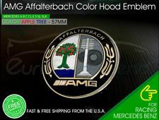 57mm Affalterbach Front AMG Emblem Color Apple Tree Flat Hood Badge Mercedes