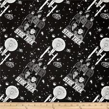 Star Trek Galaxy Pop Characters & Ship Carbon 100% cotton fabric by the yard
