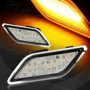 For 2012-2014 Mercedes W204 C-Class Clear Lens Amber LED Side Marker Lights Lamp