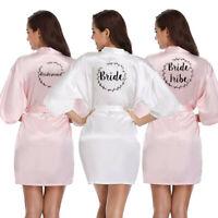 Personalised Satin Silk Wedding Bath Robe Bridesmaid Bride Maid Of Honor Gown