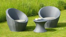 New Luna Rattan Patio and Lawn Egg Set Bistro TABLE CHAIRS Garden Furniture Grey