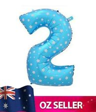 """Blue Foil Helium number 2 balloon -  40"""" inch 100cm Brithday Party TWO AUS STOCK"""