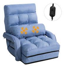 Blue Folding Lazy Sofa Floor Massage Chair Sofa Lounger Bed W/Armrests Pillow