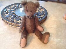 Vintage Cute OOAK Mohair? Humpback Brown Bear Silver Heart One of a Kind Sweet