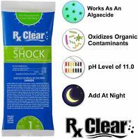 Rx Clear Swimming Pool 73% Calcium Hypochlorite Mega Chlorine Shock 12 x1 lb Bag