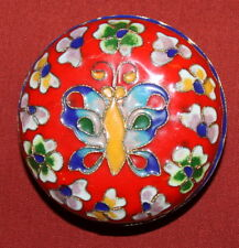 Vintage Handcrafted Brass Enamel Cloisonne Small Round Box Butterfly