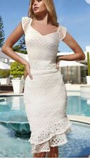 NEW WHITE LIPSY LACED FLUTE HEM SKIRT & LACED TOP CO ORD SET SIZE 12 RRP £80